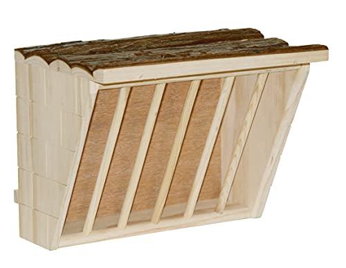 Kerbl 82895 Heuraufe XL mit Sitzbrett Nature, 28 x 20,5 x 22 cm