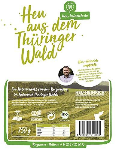 HEU-HEINRICH® 4 x 1kg Bio – Bergwiesen – Kräuterheu aus dem Naturpark Thüringer Wald - 4