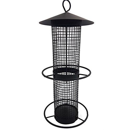 Vogelfutter-Station 31 cm Vogelhaus zum Hängen Futterspender aus schwarzem Metallgitter Vogelfutter-Spender perfekt für Nüsse und Sonnenblumenkerne