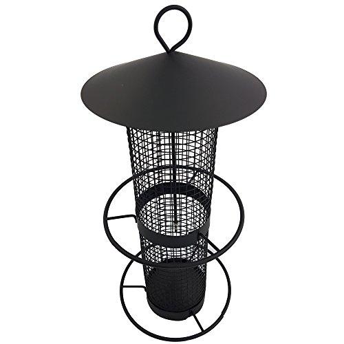 Vogelfutter-Station 31 cm Vogelhaus zum Hängen Futterspender aus schwarzem Metallgitter Vogelfutter-Spender perfekt für Nüsse und Sonnenblumenkerne - 3