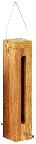 Luxus-Vogelhaus 46770e Edler Futterspender für Vögel, aus Holz (Eiche) für Garten, Balkon, mit Futtersilo (UV-resistent), Metallbügel zum Aufhängen – Vogelfutterstation Vogelfutterspender - 2