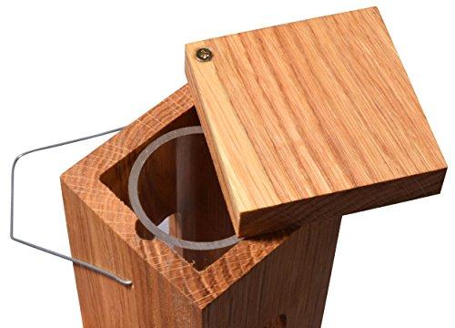 Luxus-Vogelhaus 46770e Edler Futterspender für Vögel, aus Holz (Eiche) für Garten, Balkon, mit Futtersilo (UV-resistent), Metallbügel zum Aufhängen – Vogelfutterstation Vogelfutterspender - 3