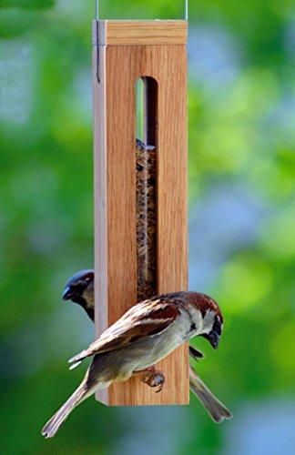Luxus-Vogelhaus 46770e Edler Futterspender für Vögel, aus Holz (Eiche) für Garten, Balkon, mit Futtersilo (UV-resistent), Metallbügel zum Aufhängen – Vogelfutterstation Vogelfutterspender - 4