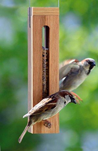 Luxus-Vogelhaus 46770e Edler Futterspender für Vögel, aus Holz (Eiche) für Garten, Balkon, mit Futtersilo (UV-resistent), Metallbügel zum Aufhängen – Vogelfutterstation Vogelfutterspender - 5