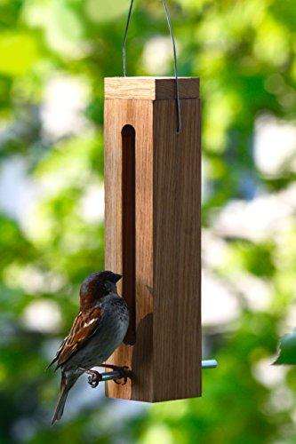 Luxus-Vogelhaus 46770e Edler Futterspender für Vögel, aus Holz (Eiche) für Garten, Balkon, mit Futtersilo (UV-resistent), Metallbügel zum Aufhängen – Vogelfutterstation Vogelfutterspender - 6