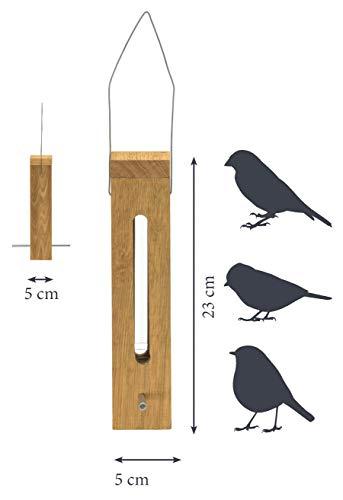 Luxus-Vogelhaus 46770e Edler Futterspender für Vögel, aus Holz (Eiche) für Garten, Balkon, mit Futtersilo (UV-resistent), Metallbügel zum Aufhängen – Vogelfutterstation Vogelfutterspender - 7