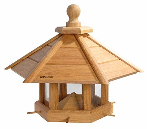 """Luxus-Vogelhaus 46131e Großes XXL Vogelhaus """"Anflug"""" aus Holz (Eiche) für Garten, Balkon, geöltes Eichenholz mit Futter-Silo / 6 Anflugstangen - XL Vogelhäuschen Vogelfutterhaus"""