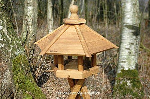 """Luxus-Vogelhaus 46131e Großes XXL Vogelhaus """"Anflug"""" aus Holz (Eiche) für Garten, Balkon, geöltes Eichenholz mit Futter-Silo / 6 Anflugstangen – XL Vogelhäuschen Vogelfutterhaus - 2"""