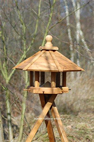 """Luxus-Vogelhaus 46131e Großes XXL Vogelhaus """"Anflug"""" aus Holz (Eiche) für Garten, Balkon, geöltes Eichenholz mit Futter-Silo / 6 Anflugstangen – XL Vogelhäuschen Vogelfutterhaus - 3"""