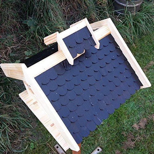 Vogelhaus-XXL mit Holzschindeln und Putzklappe lasiert Vogelhäuser-Vogelfutterhaus großes Vogelhäuschen-aus Holz Wetterschutz (Schwarz) - 4