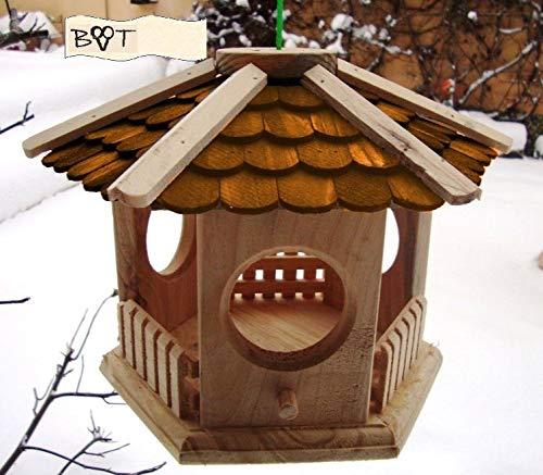 Vogelhaus, Futterhaus, Holz massiv, NATUR-Vogelhäuser in PREMIUMQUALITÄT, kleines Vogelfutterhaus in Größe 25 cm he