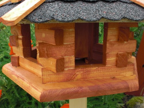 Vogelhaus-Gaube Bitumendach (V058) mit wetterfestem Anstrich-Vogelhäuser Vogelfutterhaus Vogelhäuschen-aus Holz- Schreinerarbeit - 2