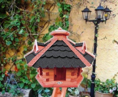 BTV BG50-BTVatOS Vogelhaus Holz mit Futtersilo, Bitumen-Dach schwarz, braun lasiert - 2