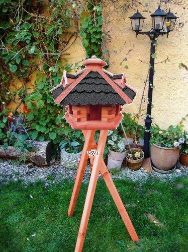 BTV BG50-BTVatOS Vogelhaus Holz mit Futtersilo, Bitumen-Dach schwarz, braun lasiert - 3