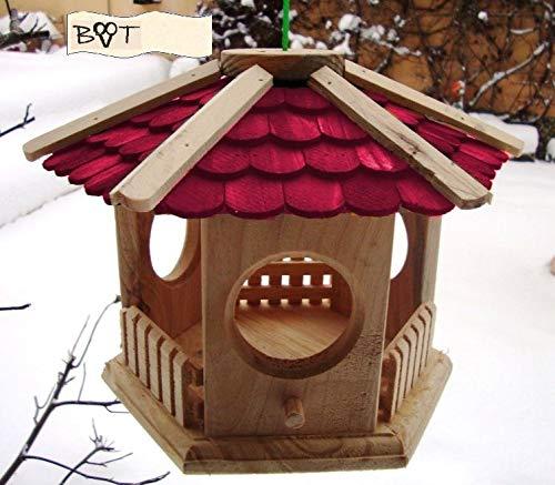 Vogelhaus, 18 cm Holz-Schindel rot, Futterhaus wetterfest