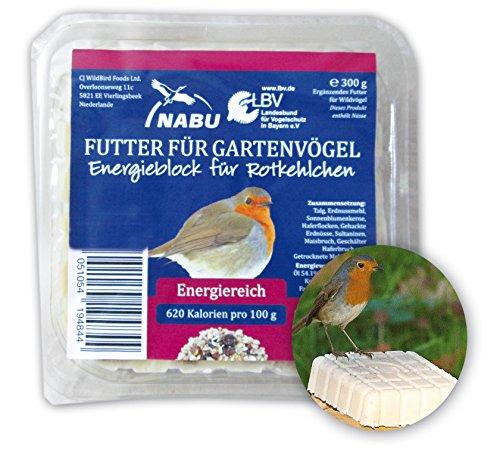 """CJ Wildlife 103540715 Energieblock für Rotkelchen und andere Wildvögel """"mit Mehlwürmer"""" 300 g - empfohlen vom NABU und dem LBV"""
