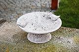 Vogeltränke Vogelbad Vogelbecken Gartendeko Vogel Tränke Wasserschale Wassertränke Grau - 2