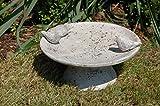 Vogeltränke Vogelbad Vogelbecken Gartendeko Vogel Tränke Wasserschale Wassertränke Grau - 7