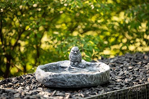 Vogeltränke mit Vogel Wasserbecken Steinguss Schiefergrau - 2