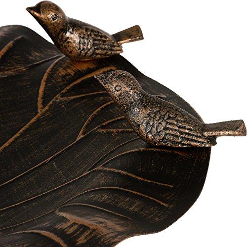 Dekorative Vogeltränke aus massivem Gusseisen, Schale aus rostfreiem Aluminium, 80 x 50 cm, 15 kg, Farbe bronze - 4