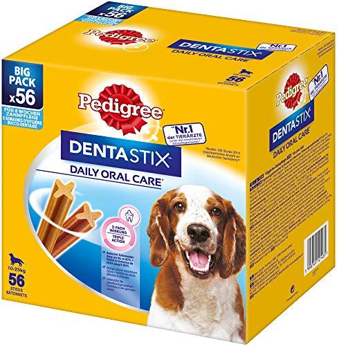 Pedigree DentaStix Hundesnack für mittelgroße Hunde (10-25kg), Zahnpflege-Snack mit Huhn und Rind, 1 Packung je 56 Stück (1 x 1.44 kg)