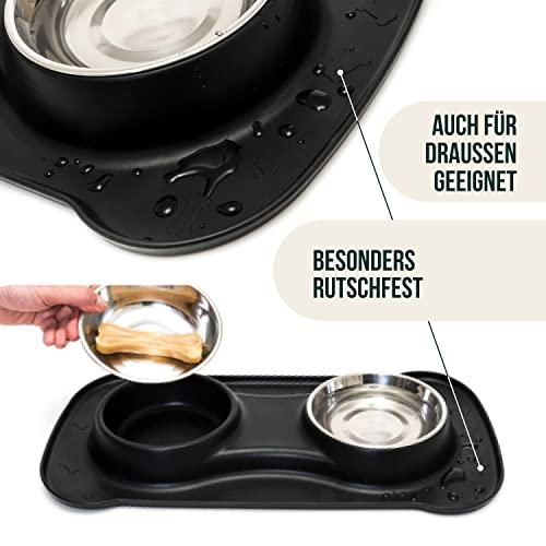 Premium Doppelnapf aus Silikon mit zwei Edelstahl-Futternäpfen und integrierter Napfunterlage für kleine bis mittelgroße Hunde und Katzen   Happilax - 5