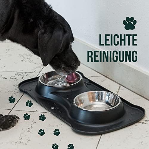 Premium Doppelnapf aus Silikon mit zwei Edelstahl-Futternäpfen und integrierter Napfunterlage für kleine bis mittelgroße Hunde und Katzen   Happilax - 6