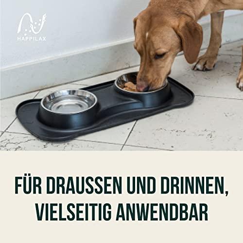 Premium Doppelnapf aus Silikon mit zwei Edelstahl-Futternäpfen und integrierter Napfunterlage für kleine bis mittelgroße Hunde und Katzen   Happilax - 7