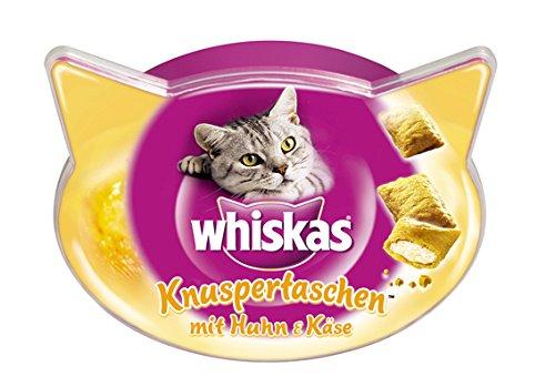 Whiskas Knuspertaschen Katzensnacks Huhn und Käse, 8 Packungen (8 x 60 g)