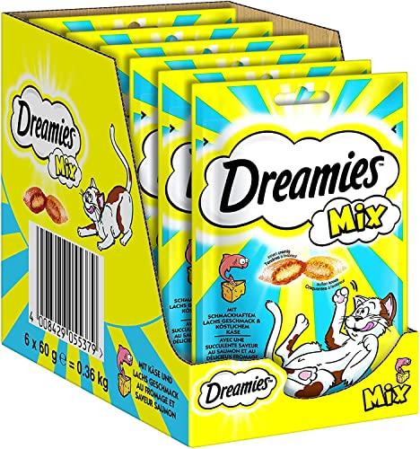 Dreamies Katzensnacks Mix mit Lachs und Käse, 6 Packungen (6 x 60 g)