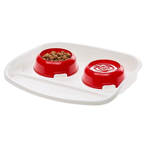 Ferplast 71910021W1 Futterbar für Katzen Lindo, 2 Näpfe in rot, 0,6 Liter
