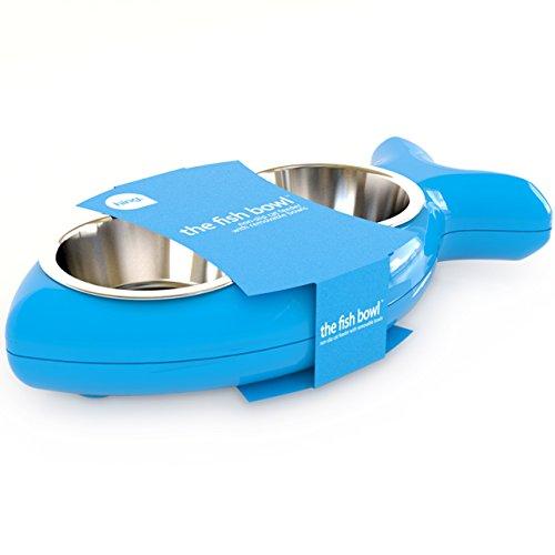 Katzennapf in Fischform - für Wasser und Futter, blau