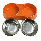 Melamin Doppelnapf Anti Rutsch Edelstahlnapf Fressnapf Hundenapf Katzennapf Futternapf Wassernapf Hochwertige Schüssel Welpennapf Trinknapf Orange - 2