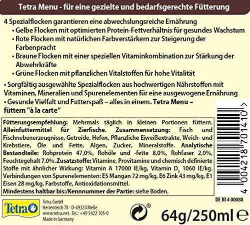TetraMin Menu Hauptfuttermix (für alle Zierfische, 4 verschiedene Flocken in 4 getrennten Kammern, ideal für Fische sämtlicher Wasserzonen), 250 ml Dose - 5