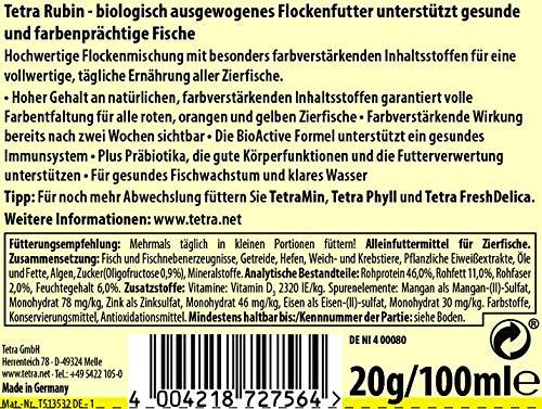 TetraRubin Hauptfutter (für Zierfische, für intensive Farbenpracht mit natürlichen Farbverstärkern, plus Präbiotika für verbesserte Körperfunktionen und Futterverwertung), 100 ml Dose - 2