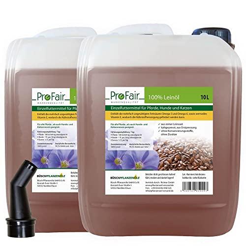 10 Liter bestes ProFair® Leinöl, kaltgepresst, 100% aus reiner Leinsaat - VERSANDKOSTENFREI!