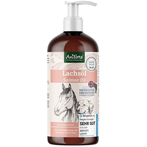 Aniforte Omega 3-Lachsöl 1 Liter- Naturprodukt für Hunde, Katzen und Pferde