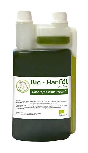 Bio Hanföl (1 Liter) als Futtermittelzusatz für Pferde