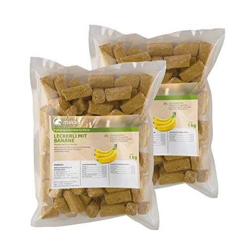 Makana ® Banane Leckerlie Snack für Pferde, 2 x 1000 g Beutel (2 x 1 kg)