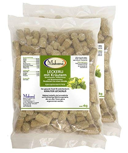 Makana ® Kräuter Leckerlie Snack für Pferde, 2 x 1000 g Beutel (2 x 1 kg)