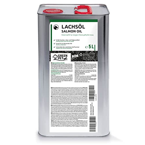 NaturaForte® 5 Liter echtes Lachsöl in 1a Premiumqualität, kein minderwertigeres Fischöl oder Fischlachsöl, sehr frische Abfüllung, für Hunde & Pferde