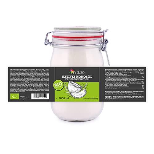 mituso Bio Kokosöl, nativ, 1er Pack (1 x 1000 ml) im Drahtbügelglas - 4