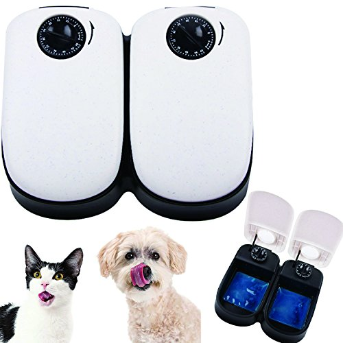 Automatischer Futterautomat Futterspender mit Ice Pack für Haustiere Hunde und Katze 2 Mahlzeiten 2 x 300 ml