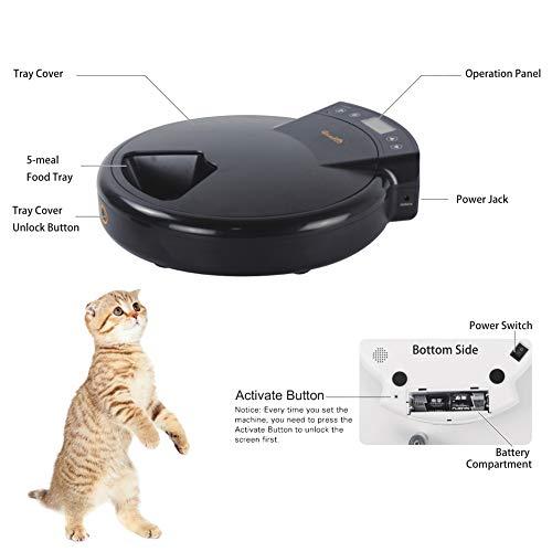 GemPet Automatischer zeitgesteuerter 5fach Katzen Hunde Futterspender Napf Spender, Programmierbare Futterautomat, mit REC, Trockenfutter / Nassfutter,Schwarz - 6