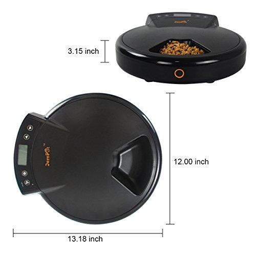 GemPet Automatischer zeitgesteuerter 5fach Katzen Hunde Futterspender Napf Spender, Programmierbare Futterautomat, mit REC, Trockenfutter / Nassfutter,Schwarz - 5