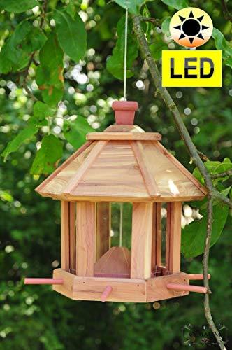 Futterhaus Vögel, ZedernHolz - MIT Beleuchtung,LED-Licht / Vogelhaus & Futterstation,wetterfest NATUR HOLZ,BEL-natur groß, PREMIUM