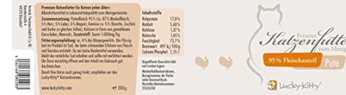 Lucky-Kitty Premium-Katzenfutter Pute mit 95% Fleischanteil in Lebensmittelqualität (4 x 200 Gramm) - 3