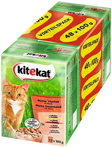 Kitekat Katzenfutter Bunte Vierfalt in Soße, 48 Beutel (1 x 48 x 100 g)