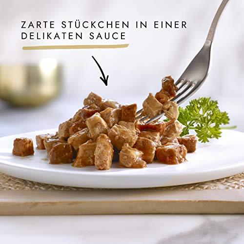 Gourmet Gold Katzenfutter Zarte Häppchen in Sauce mit Lachs und Huhn, 12er Pack (12 x 85 g) Dosen - 2