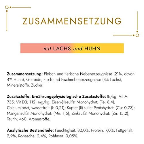 Gourmet Gold Katzenfutter Zarte Häppchen in Sauce mit Lachs und Huhn, 12er Pack (12 x 85 g) Dosen - 4